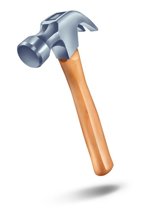 Hammer in the air with an iron tip and wooden handle as a construction symbol of renovations and home improvement on a white background  photo