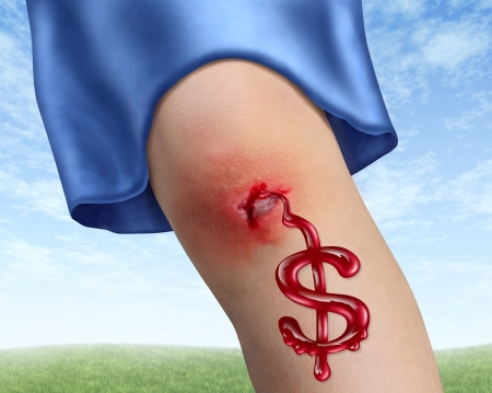 Medical accident insurance costs with a human child knee bleeding blood in the shape of a dollar sign as a health care concept for hospital fees and accidental physical injury on a sky background Stock Photo - 14837722