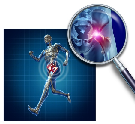 Sports Hip injury with a running athlete showing the anatomical skeleton with a red highlight on the hips magnified with a magnifying glass as a symbol of body joint pain