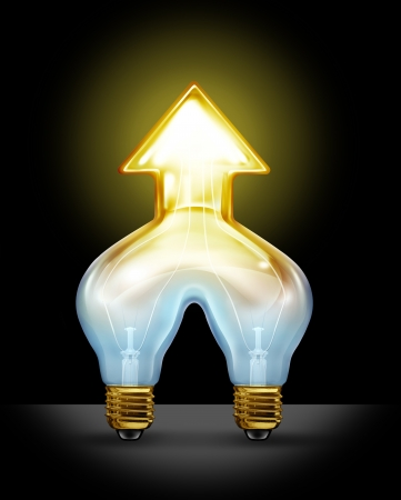 merging together: Successful creative partnership and corporate merger of ideas as two light bulbs coming together to form a unified business force as a glowing light in the shape of an arrow going up  Stock Photo