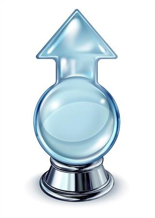 stock predictions: Il successo in futuro, con una sfera di cristallo di vetro a forma di una freccia con un centro vuoto come un concetto di business di profitti finanziari e ritorni di investimento prevedere la direzione del mercato