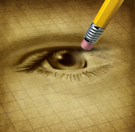 degeneration: Vision loss ad losing eyesight medical health care concept with a human sight organ being erased by a pencil as a symbol of blindness and ocular disease