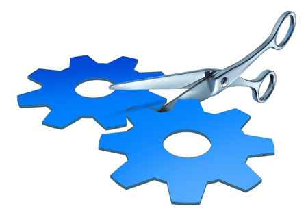 breaking off: Breaking up a business as a pair of scissors cutting in two pieces a paper cut out shaped as gears and cogs representing the financial split of assets and company spin off or selling stock in the market on a white background  Stock Photo