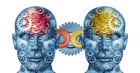 Business working relationship with two human heads sharing creative ideas made of gears and cogs representing business people in partnership cooperating together in unity for financial success on white
