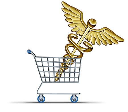 Buying health insurance and choosing the right medical protection plan for your family with a shopping cart and a caduceus icon made of gold or brass as a concept of the cost of illness coverage  photo