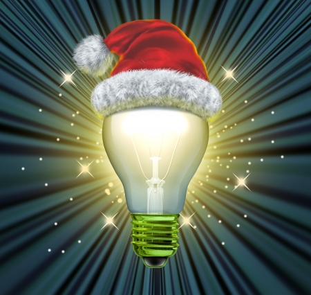 santaclause: Christmas ideas and gift idea for the winter holiday season with an illuminated light bulb and a santaclause red santa hat glowing and shinning on a black background as a concept of answers and solutions to seasonal questions