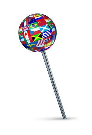 Global strategy position and setting international business targets with a pushpin symbol painted with the flags of countries as Brazil,Canada,China,USA,Russia,England,Europe,Italy,France on white  Stock Photo - 15206223