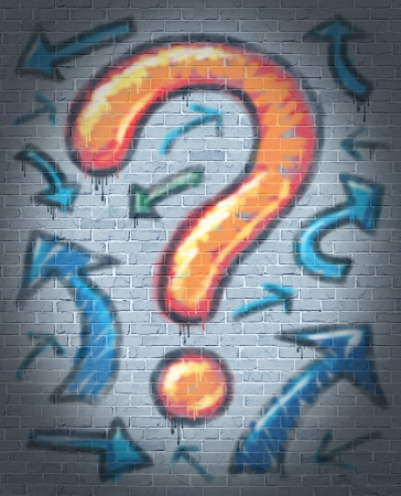 Graffiti question mark with confused direction arrows painted and sprayed with an aerosol can texture on a rough urban brick wall as a concept of finding answers and solutions to confusion