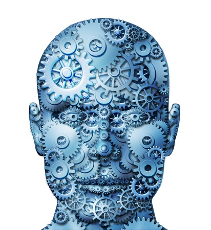 brain function: Human machine intelligence and brain function on white represented by gears and cogs in the shape of a head representing the symbol of mental health and neurological functioning in patients with depression  Stock Photo