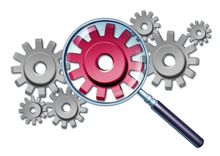 getting together: Industry focus business concept with gears and cogs connected together as a financial partnership and a red member being magnified with a magnifying glass as a symbol of getting a closer look at the workings of a company  Stock Photo