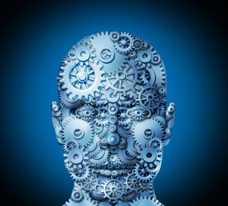 rentable: El ingenio humano y el concepto de innovaci�n empresarial con una cara vista frontal de ruedas dentadas y engranajes para dar forma a la cabeza como s�mbolo de la complejidad empresarial trabajan juntos para lograr soluciones rentables Foto de archivo