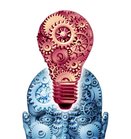 ingenuity: Inspiration and ideas business concept with a head and light bulb shaped from gears and cogs representing the idea of creative workings of strategy and planning from new  inventions on white  Stock Photo