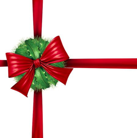 Red Christmas wrapping ribbon as a decoration and winter holiday decorative design ornament for the celebration of  the season with a ball of holly and pine needles with a big festive bow Stock Photo - 15206238