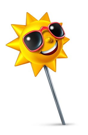 best location: Travel and vacation Location with a single push pin pressed on a white background and a happy sun character at the tip as a traveling symbol of searching and finding the best place to enjoy some relaxation time as a tourist