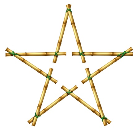 Bamboo sticks in the shape of a star as an exotic decorative hot tropical climate design element made with poles tied by green grass rope on an isolated white background representing success in hot climate nature  photo