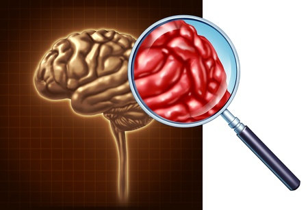 Brain close up with a focus on the neurological activity using a magnifying glass on the human anatomy for memory and neurology research for medical science as a health care symbol of mental well being