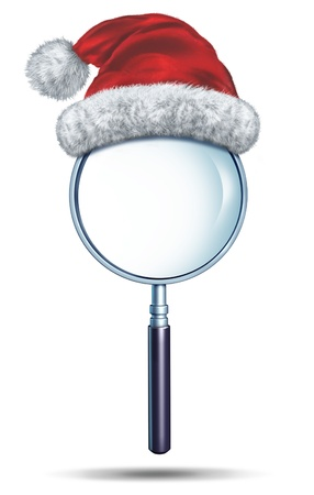 santa clause hat: Christmas search and winter holiday searching symbol as a magnifying glass with a red santa clause hat on a white background as a concept of finding ideas and solutions for the festive season  Stock Photo