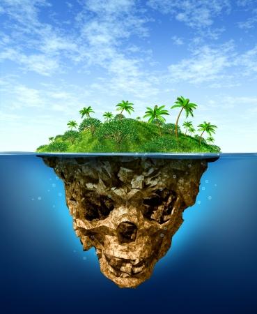 Riesgos Ocultos y concepto de publicidad falsa con una hermosa isla tropical en el mar como un paraíso natural verde contrasta con un agua bajo la forma de un cráneo esqueleto oscuro mal como un símbolo de la deshonestidad y los peligros de fraude Foto de archivo