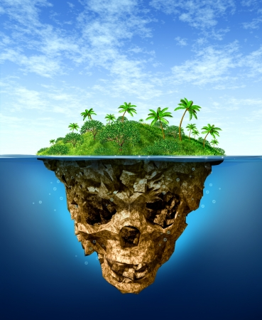 Risque Invisible et concept de publicité mensongère avec une magnifique île tropicale sur la mer comme un paradis vert naturel qui contraste avec l'eau sous la forme d'un crâne squelette mal sombre comme un symbole de la malhonnêteté et dangers de la fraude Banque d'images