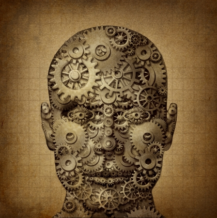 front facing: Power of human creativity with a front facing head made of gears and cogs on a grunge old parchment texture as a symbol of ingenuity and business or health success