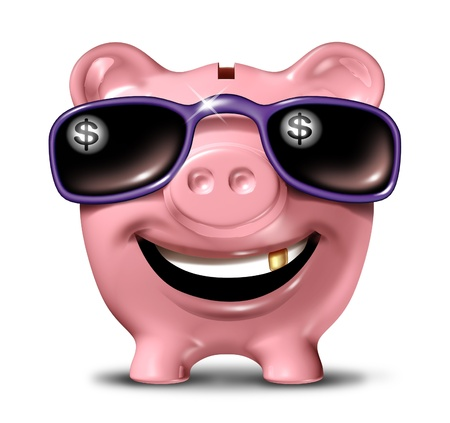 sunglasses reflection: Successful savings financial concept with a happy smiling piggy bank wearing dark sunglasses with a dollar symbol reflection in the glass and a gold tooth as a finance icon of living in luxury with wealth and prosperity  Stock Photo