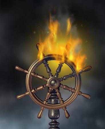 crisis economica: Empresas crisis y símbolo desastre económico financiero con una rueda de navegación quema madera marina nave en llamas que representan peligro y la necesidad de un seguro tormenta en un cielo nublado oscuro