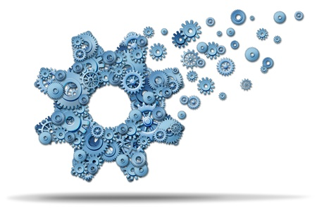 Business expansion and growing a vibrant business by showing leadership and a clear strategy with planning to develop new growth opportunities overseas or developing markets with a large gear made of smaller cogs spreading upward  to success Stock Photo - 15086878