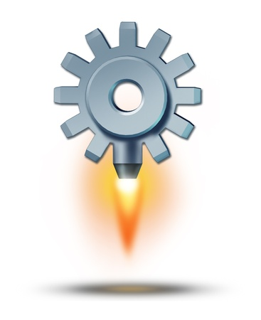 thrust: Business launch and starting a financial venture as a gear or cog taking off as a rocket attached to it blasting upward as a symbol of success and sky is the limit icon on a white background