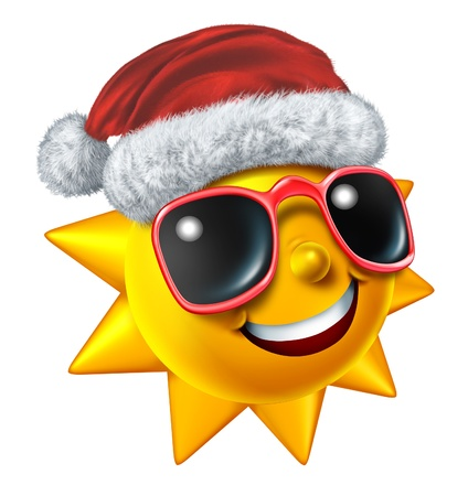 cartoon summer: Christmas vacation symbol with a smiling hot sun character with sunglasses wearing a Santa Clause hat as a concept for winter travel during the holiday season and relaxation with sunny tropical weather isolated on white
