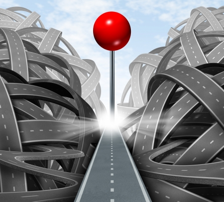 Focus on the goal as a business symbol of a successful journey based on a strategic path and clear financial planning on the destination represented by a red push pin on a straight road away from confusion and chaos  Stock Photo - 15086892