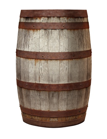 Old Barrel made of vintage weathered wood and rusty metal rings on an isolated white background for storing alcohol drinks as rum whisky and beer or wine