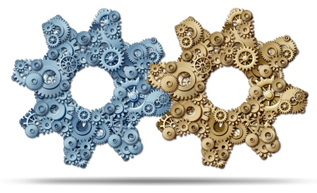 joining forces: Power Partnership and joining business forces together to form a strong merged unity of success represented by a group of gears and cogs in the shape of a large machine part on a white background  Stock Photo