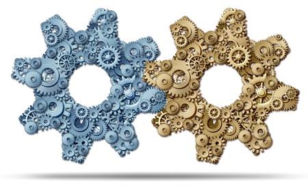 Power Partnership und Verbindungstechnik Business Kräfte zusammen, um eine starke fusionierte Einheit der Erfolg von einer Gruppe von Getrieben und Zahnrädern in der Form einer großen Maschine Teil auf einem weißen Hintergrund zu bilden, dargestellt Standard-Bild