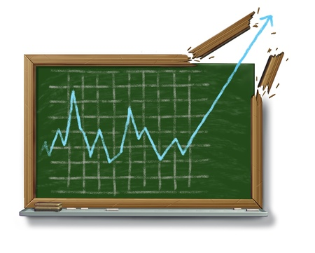 upward graph: Profits growth business success symbol with an education chalk board or black board and a financial stock market graph drawing breaking out of the wood frame on a white background