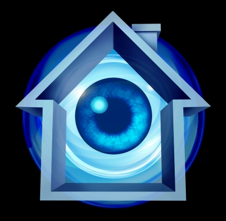 Home security system and house owner protection with alarm warning of risk as a residential shaped building with an eye ball looking as protection monitoring from hazards like flooding fire and burglary crimes  photo