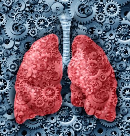 aparato respiratorio: Salud humana pulmones médico símbolo cuidado con engranajes y ruedas dentadas conectadas entre sí de respiración de oxígeno que representa la función de un órgano pulmón sano y anatomía
