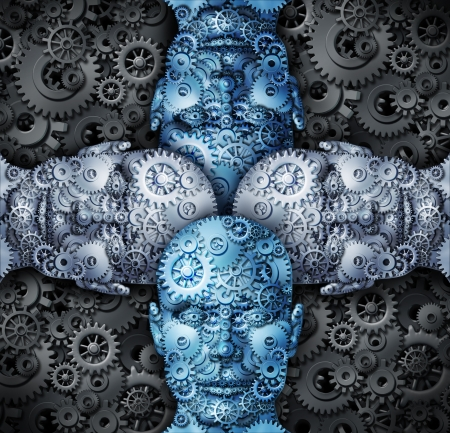 unified: Industry cooperation and partnership working together as a team connecting their ideas to find successful unified solutions with human head shapes made of gears and cogs