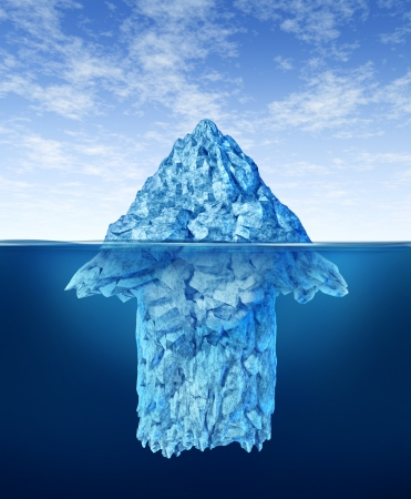 tip: Opportunity discovery  as a business symbol represented by an iceberg with an arrow shape hidden under the water as a concept of smart investment advice for future potential growth