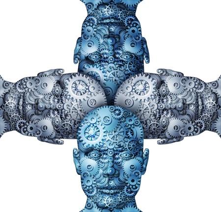 werk: Partnerschap samen te werken als een team aansluiten van hun ideeën samen om succesvolle oplossingen te vinden met vier menselijke vorm van het hoofd gemaakt van tandwielen en radertjes op wit wordt geïsoleerd
