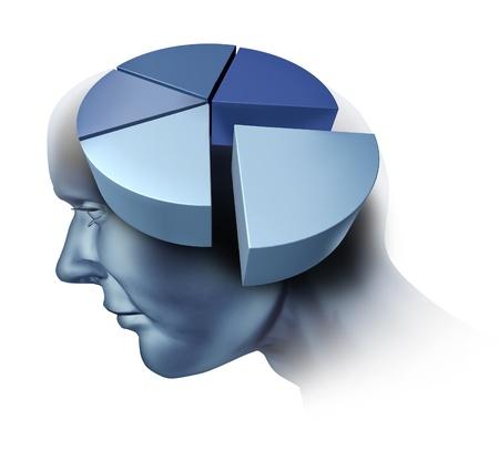 cerebro humano: Analizando el cerebro humano con una ilustraci�n de una cabeza y un gr�fico de tres dimensiones pastel como un s�mbolo m�dico de la investigaci�n sobre la funci�n de p�rdida de inteligencia y memoria o enfermedad de Alzheimer demencia en un fondo blanco