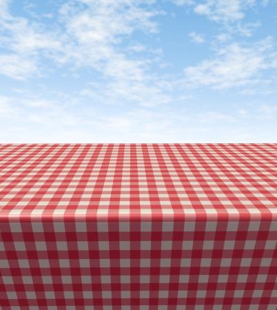 tabulka: Kostkovaný ubrus stolu s prázdnou prázdnou piknik hadříkem v pohledu na modrou slunečné letní obloze jako symbol potravin a volný čas zábava