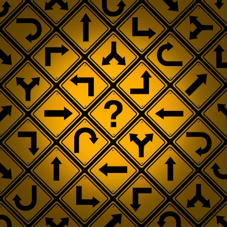 off path: Choice and confusion as a strategy or path in a business or life management concept with confusing different yellow direction street signs pattern showing dilemma questions looking for solutions for success  Stock Photo