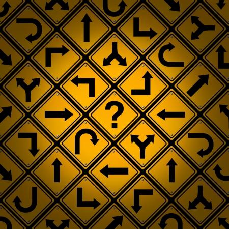 complicación: Elecci�n y confusi�n como una estrategia o camino en un negocio o concepto de gesti�n de la vida con confundiendo diferente direcci�n calle amarilla que muestra signos patr�n preguntas dilema en busca de soluciones para el �xito