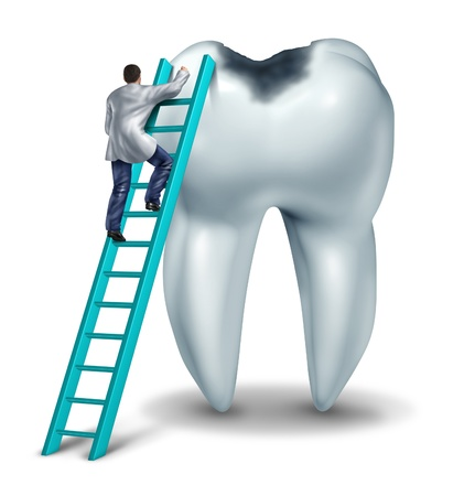 Dental care health and medical symbol with a dentist or doctor in uniform on a ladder to diagnose  symptoms and perform an emergency  surgery on a tooth with a cavity on a white background  Stock Photo