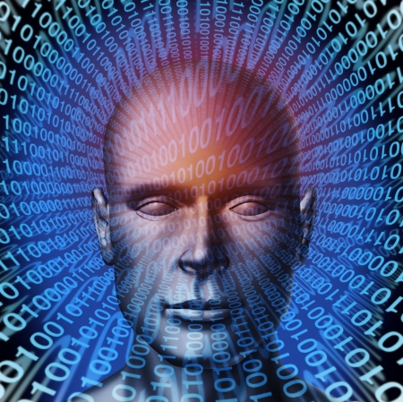 Identity theft technology security concept with a human head and digital  binary code background as a symbol of internet fraud and data protection from ID criminals  photo