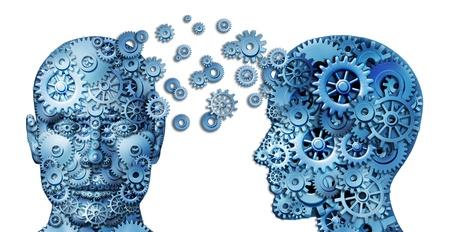 Aprender y conducir el trabajo en equipo y liderazgo como un símbolo de la educación representado por dos cabezas humanas frontal y lateral con engranajes en forma como una idea cerebro hizo de ruedas dentadas que representa trabajar juntos como un equipo, en colaboración Foto de archivo