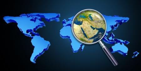 Planeet aarde Midden-Oosten crisis met politieke kwesties van de Perzische Golf en ruwe olie met landen als Iran Israël Egypte Libië Koeweit Syrië Saudi-Arabië gericht met een vergrootglas op zwart Stockfoto