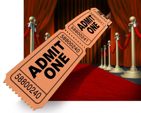 red line: Movie night on the red carpet with a dynamic roll of admit one ticket stubs flying through the air against a background of velvet curtains and drapes and brass dividers as an entertainment and cinema concept