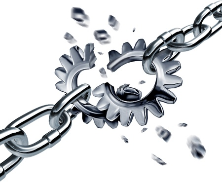 breach: Broken partnership agreement chain breaking a financial deal or contract with metal connected links in the shape of gears or cogs as a disconnected business group pulling apart symbol
