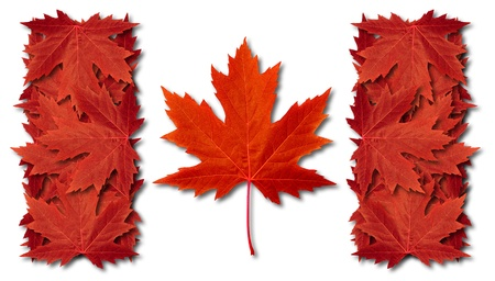 Canada leaf flag made with three dimensional red maple leaves as an autumn symbol Banco de Imagens